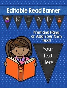 Editable Read Banner Pennants Classroom Decor