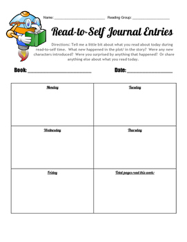 Editable Read to Self Journal Entry Form- Guided Reading