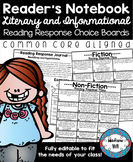 Editable Reader's Response Notebook Prompt Choice Boards