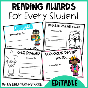 Reading Awards - Editable Certificates