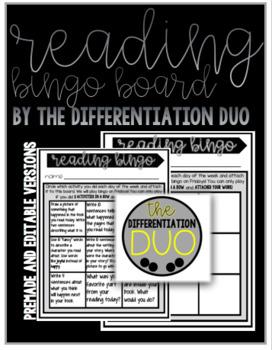 Editable Reading Bingo Board