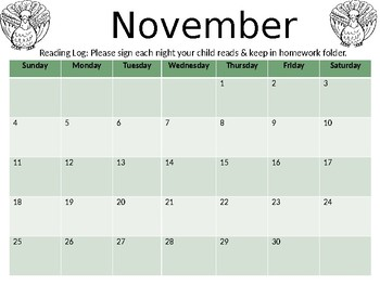 Editable Reading Calendar 2018-2019