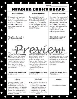 Editable Reading Choice Board