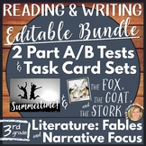 Editable Reading Comprehension Part A Part B & Writing Test, Task Cards-Bundle 1