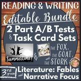 Editable Reading Comprehension Part A Part B & Writing Test, Task Cards-Bundle 1
