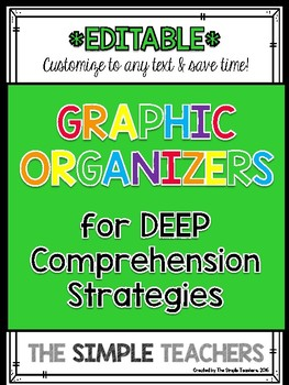 Editable Reading Comprehension Strategy Graphic Organizers