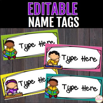 Editable Reading Kids Desk Name Tags
