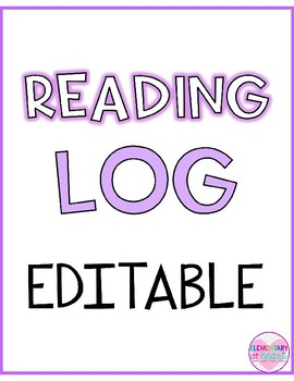 Editable Reading Log- Trish