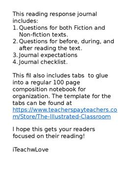 Editable Reading Response Journal