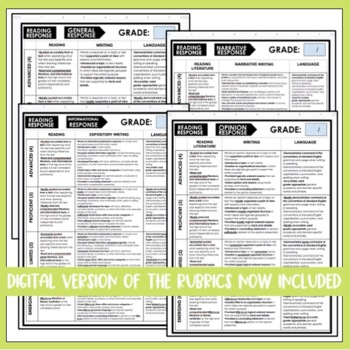 Editable Reading Response and Writing Rubrics for 4th Grade Common Core