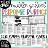 Editable Reading Response and Writing Rubrics for 7th & 8th Grade Common Core