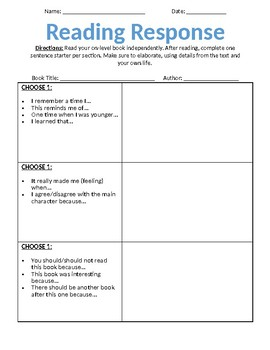 Editable Reading Responses (Tic-Tac-Toe)