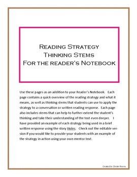 Editable Reading Strategy Thinking Stems for the Reader's Notebook