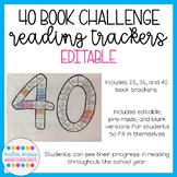 Editable Reading Trackers! Perfect for 25, 35, and 40 Book Challenges