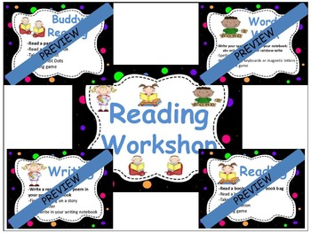 Editable Reading Workshop Center Board Display Signs