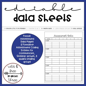 Editable Reading Workshop Conference Notes and Data Notebook / Binder
