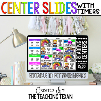 Editable Reading and Math Center Rotation Slides with Timers