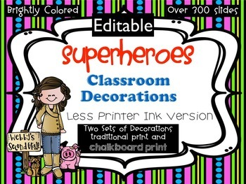 Editable Ready to Print No Prep Superheroes Room Decor