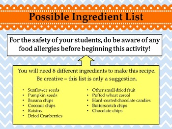 Editable Recipe for Success: Back to School Activity