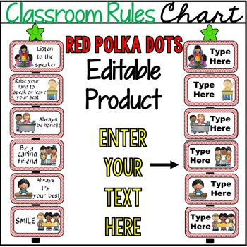Editable Red Chevron Classroom Rules