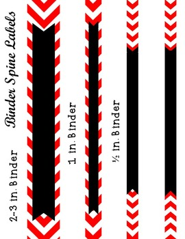 Editable Red Chevron and Quatrefoil Binder Cover and Spine Label
