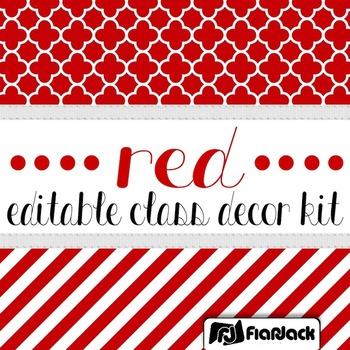 Editable Red Color Scheme Class Decor Kit