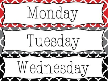 Editable Red-Gray-Black Moroccan Drawer Labels - File, Copy, Grade, Days of Week