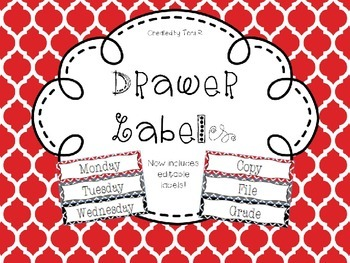 Editable Red-Gray-Black Moroccan Drawer Labels - File, Cop