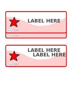 Editable Red Stars Drawer, Peg, Name Labels