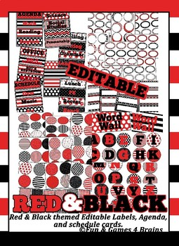 Editable!! Red and Black Themed Labels, Tags  & Hall Passes Bundle
