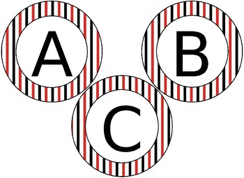 Editable Red and Black themed circular bulletin board letters