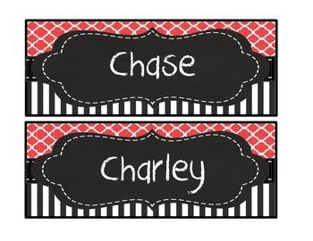 Editable Red black stripe polka dot quatrefoil chalk deskplate nametag nameplate