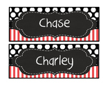 Editable Red black stripe polka dot quatrefoil chalk deskp