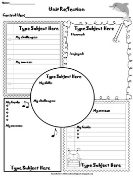 editable reflection and goal setting templates with ib pyp by susan