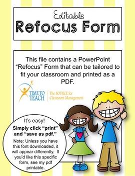 Editable Refocus Form (Time to Teach Classroom Management)