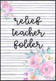 Editable Relief Teacher Folder - Peonies