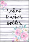 Editable Relief Teacher Folder - Peonies