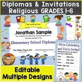 Diplomas for Grades 1-6, Elementary School Editable Religious, Christian Theme