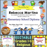 Religious Diplomas for Grades 1-6, Elementary School Editable, Christian Theme