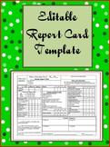 Editable Report Card Template