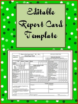 Editable Report Card Template