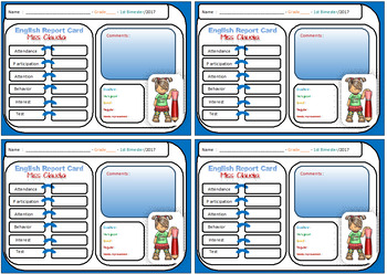 Editable Report Cards