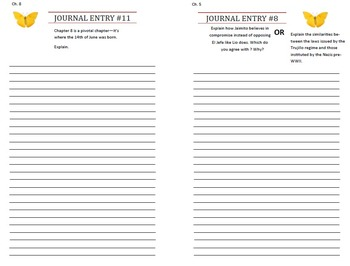 Editable Response Journal for In the Time of the Butterflies