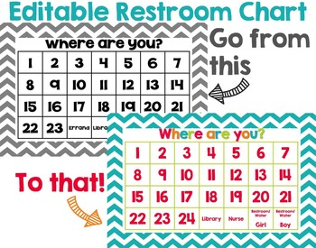 Editable Restroom Chart Poster: Choose Your Colors and Patterns