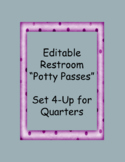 Editable Restroom Pass Set 4-Up