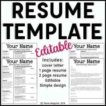 Editable Teacher Resume Template And Cover Letter Template Sleek