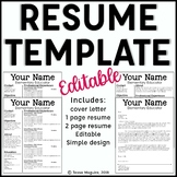 Editable Teacher Resume Template and Cover Letter Template- Sleek & Clean