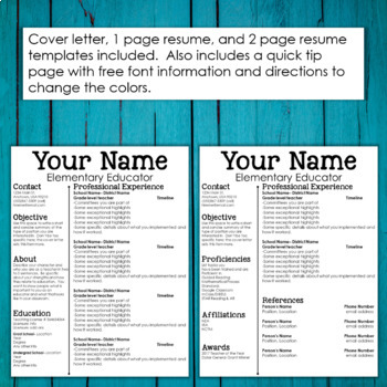 Editable Teacher Resume Template And Cover Letter Sleek Clean