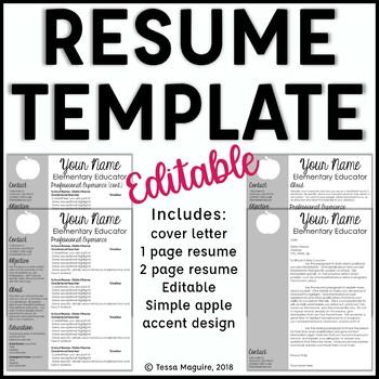 Editable Teacher Resume Template Apple Accent
