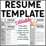 Editable Teacher Resume Template and Cover Letter Template- Globe Accent